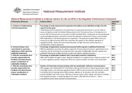 National Measurement Institute`s evidence metrics for the six KPIs in