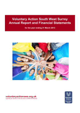 the VASWS Annual Report and Accounts for 2012/13