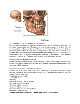 Nursing Care Plan for Dislocated or Fractured Jaw. Dislocation and