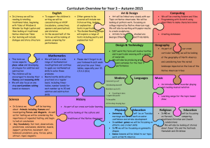 Curriculum Overview for Year 3 – Autumn 2015