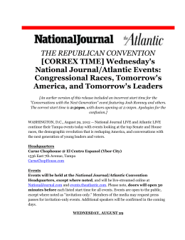 Wednesday`s National Journal/Atlantic Events: Congressional