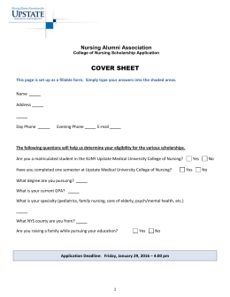 Nursing Alumni Association Scholarship Cover Sheet