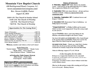 August 24, 2014 Church Bulletin