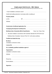 Wet Areas Compliance Certificate Template