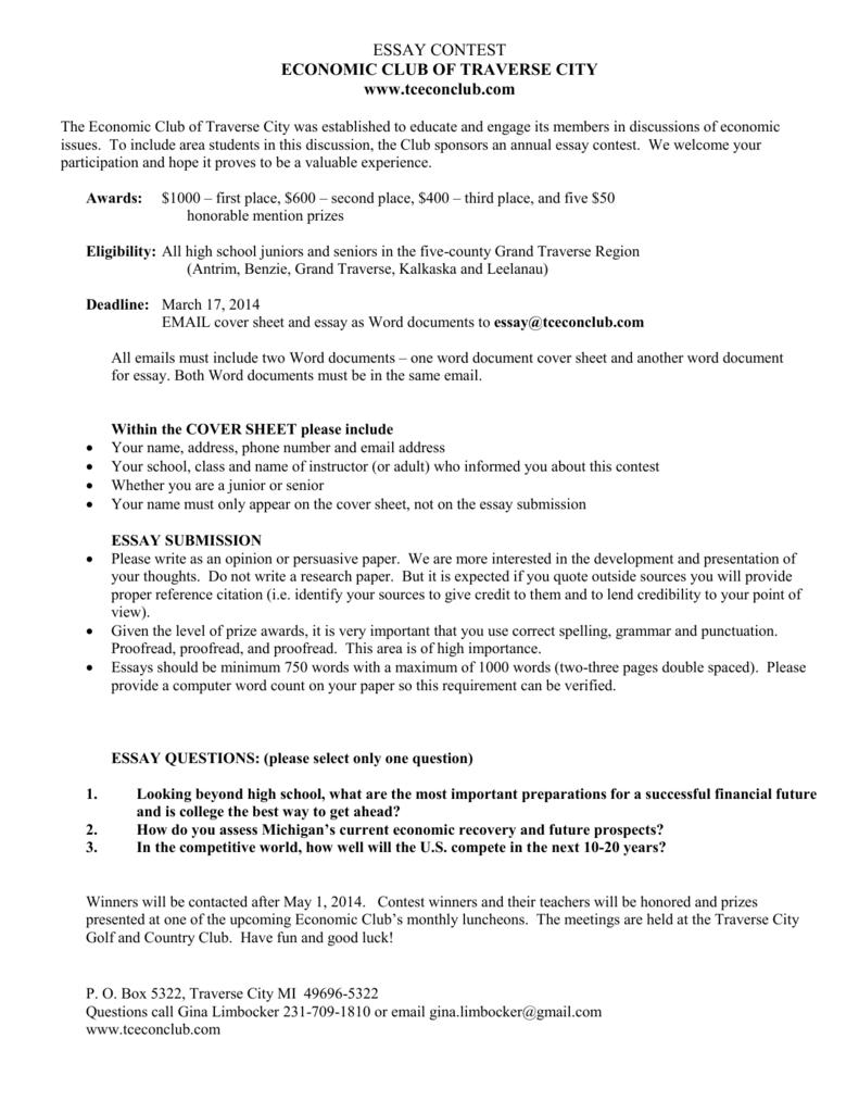 Essay Contest  Tceconclubcom