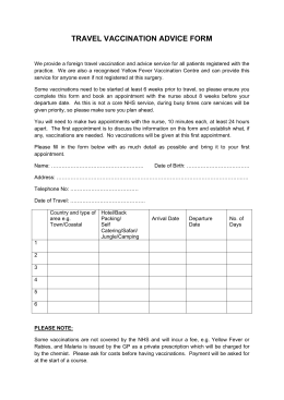 Travel Vaccination Advice Form
