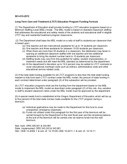 Long Term Care - Treatment Education Program Funding Formula