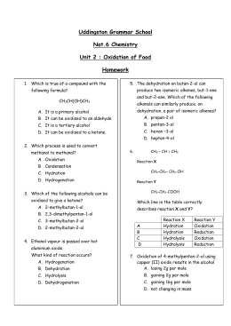 12 U Organic Chemistry Worksheet # 4 – Organic Functional Group