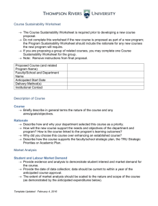 Course Sustainability Worksheet