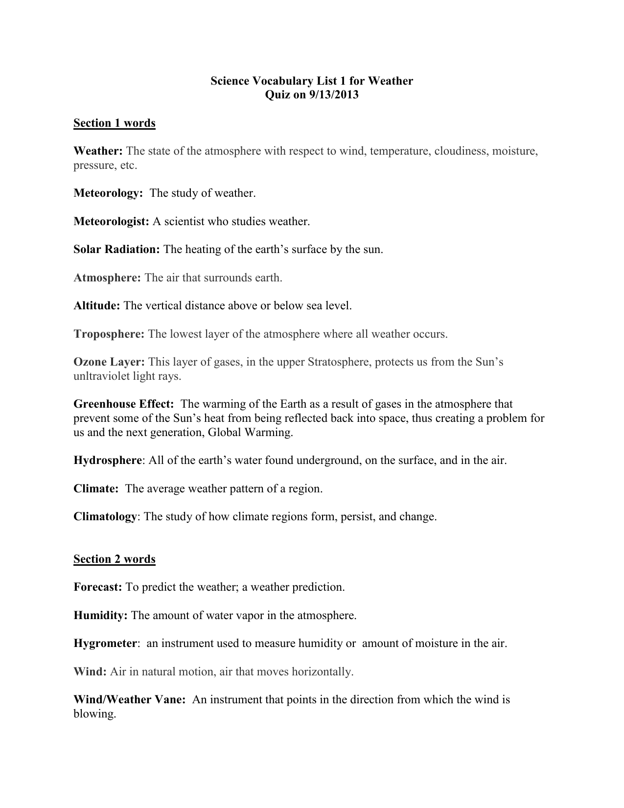 Science Vocabulary List 1 For Weather Quiz On 9 13 2013 Section