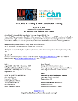 ADA, Title II Training & ADA Coordinator Training