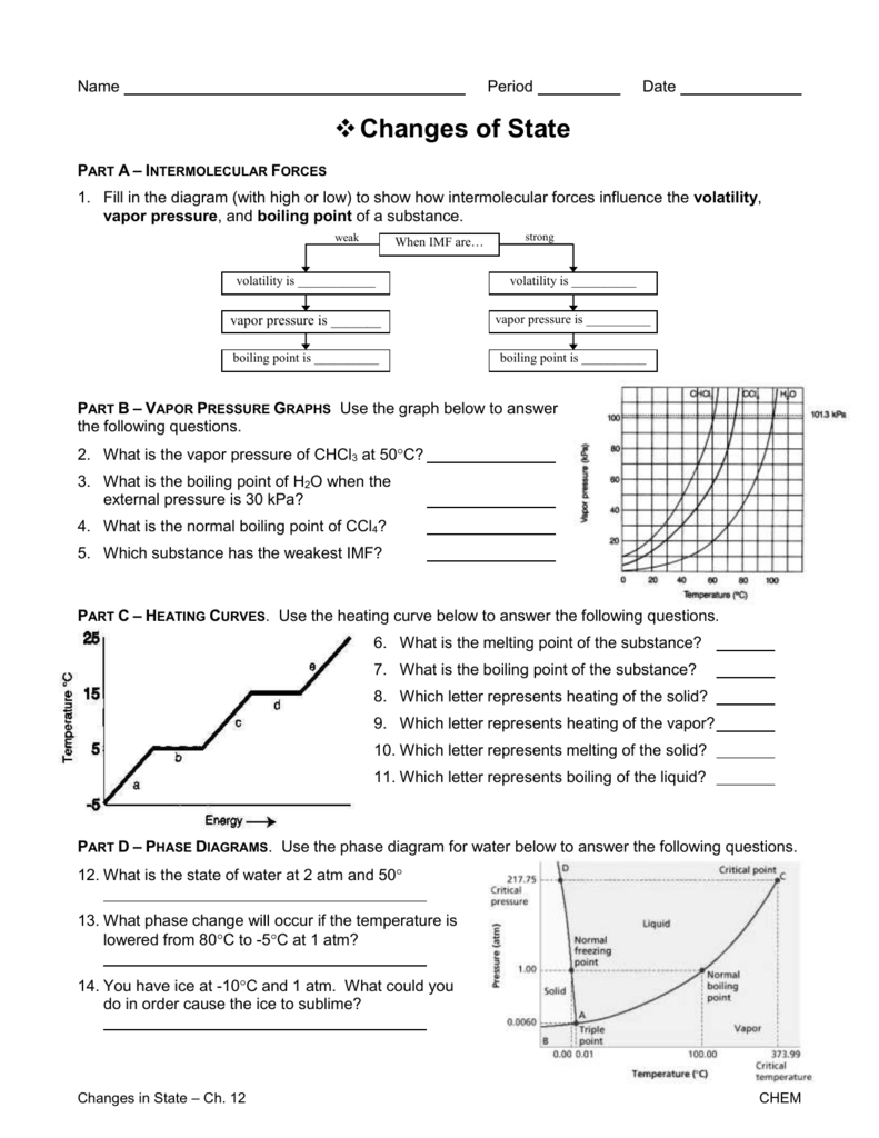 State Change Worksheet with Answers – Phase Change Graph Worksheet
