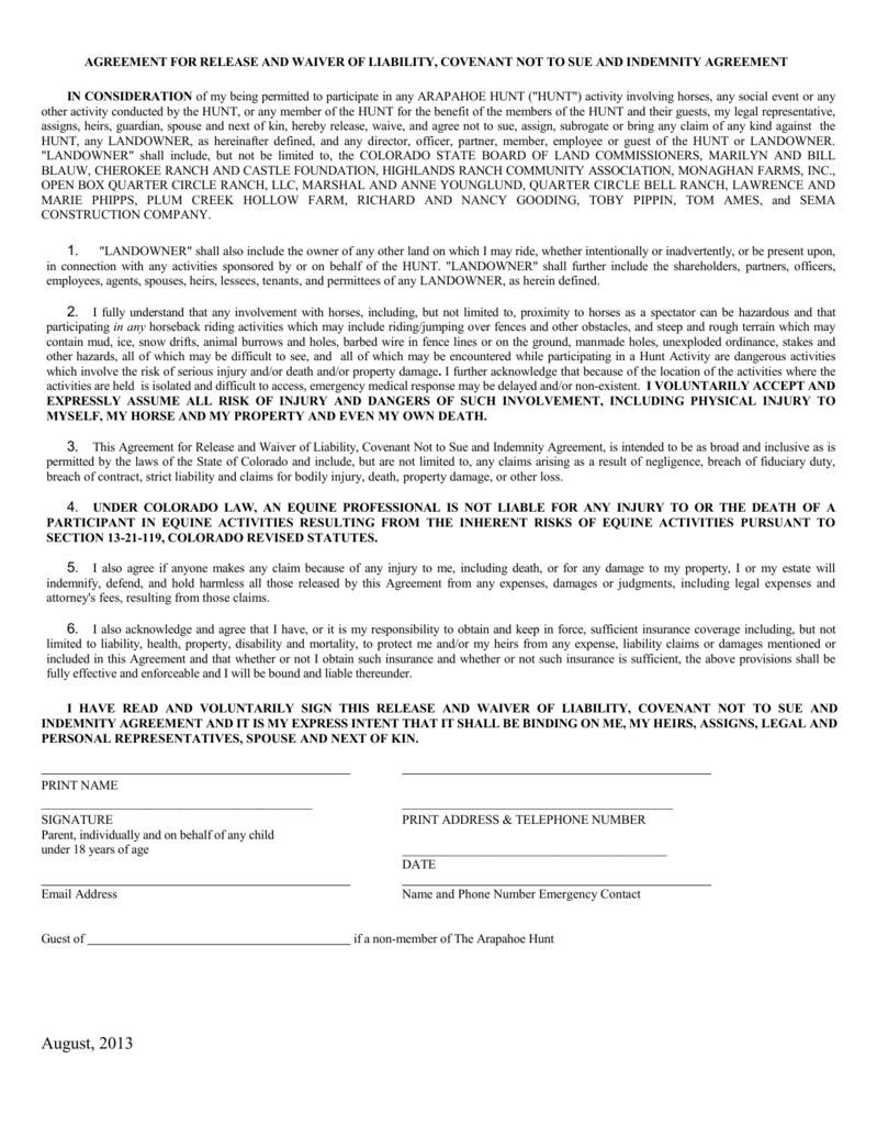 Agreement For Release And Waiver Of Liability