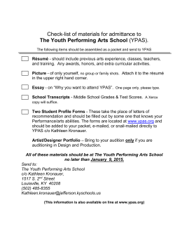 Check List of materials for admittance to The Youth Performing Arts
