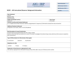 NCDPI -- AIG Instructional Resource: Background Information