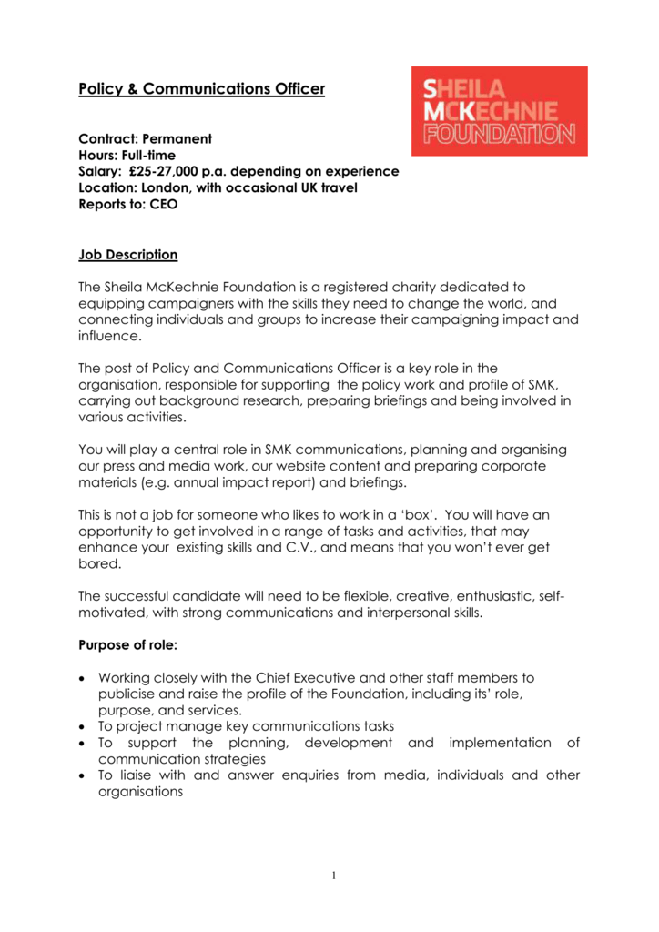 Policy Communications Officer