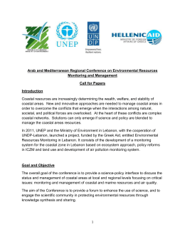 Call for Papers - Environmental Resource Monitoring in Lebanon