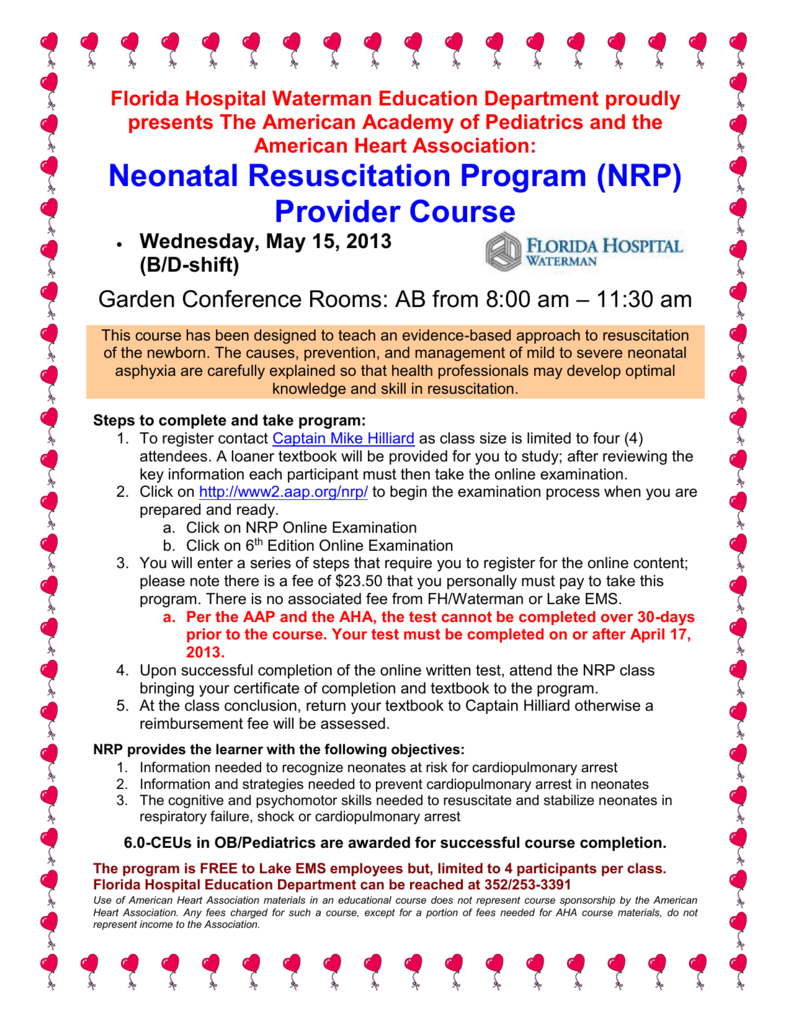 Neonatal Resuscitation Program Nrp Provider Course