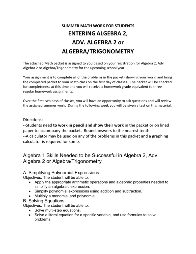 summer math work for students entering algebra 2