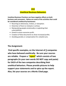 Unethical Business Behaviors