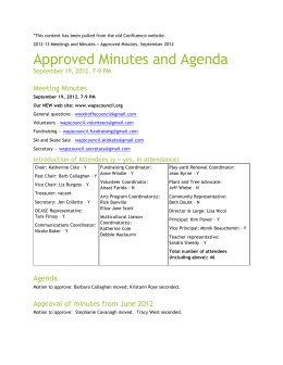 September 2012 – Approved Minutes and Agendas