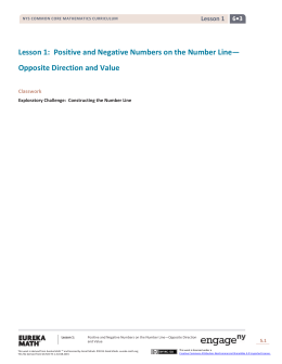 Lesson 1: Positive and Negative Numbers on the