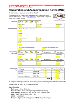 MD9 Registration and Accommodation Form