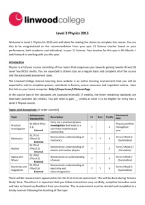 Level 2 Physics Student Course Information 2015
