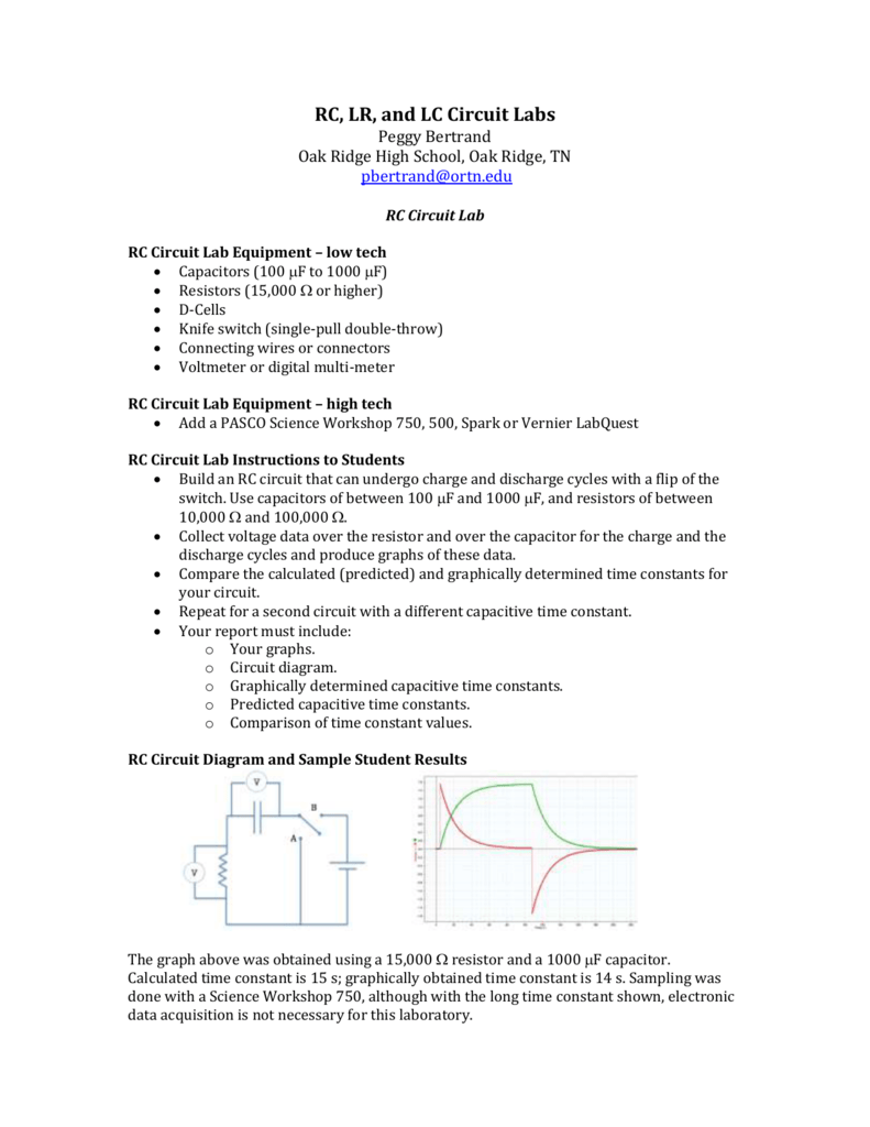 Handout For Rc Lr And Lc Labs Circuit Diagrams High School Photos