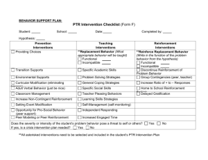 PTR Intervention Checklist (Form F)