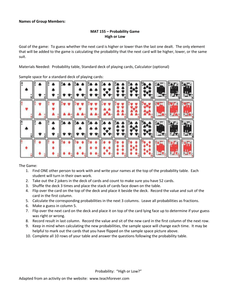 Deck of cards probability calculator
