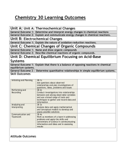 Chemistry 30 Learning Outcomes