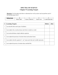 SPECTRA OF SCIENCE Chapter 9 Learning Targets