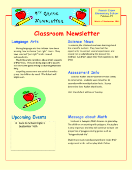 Week 2 4th Grade Newsletter 2014