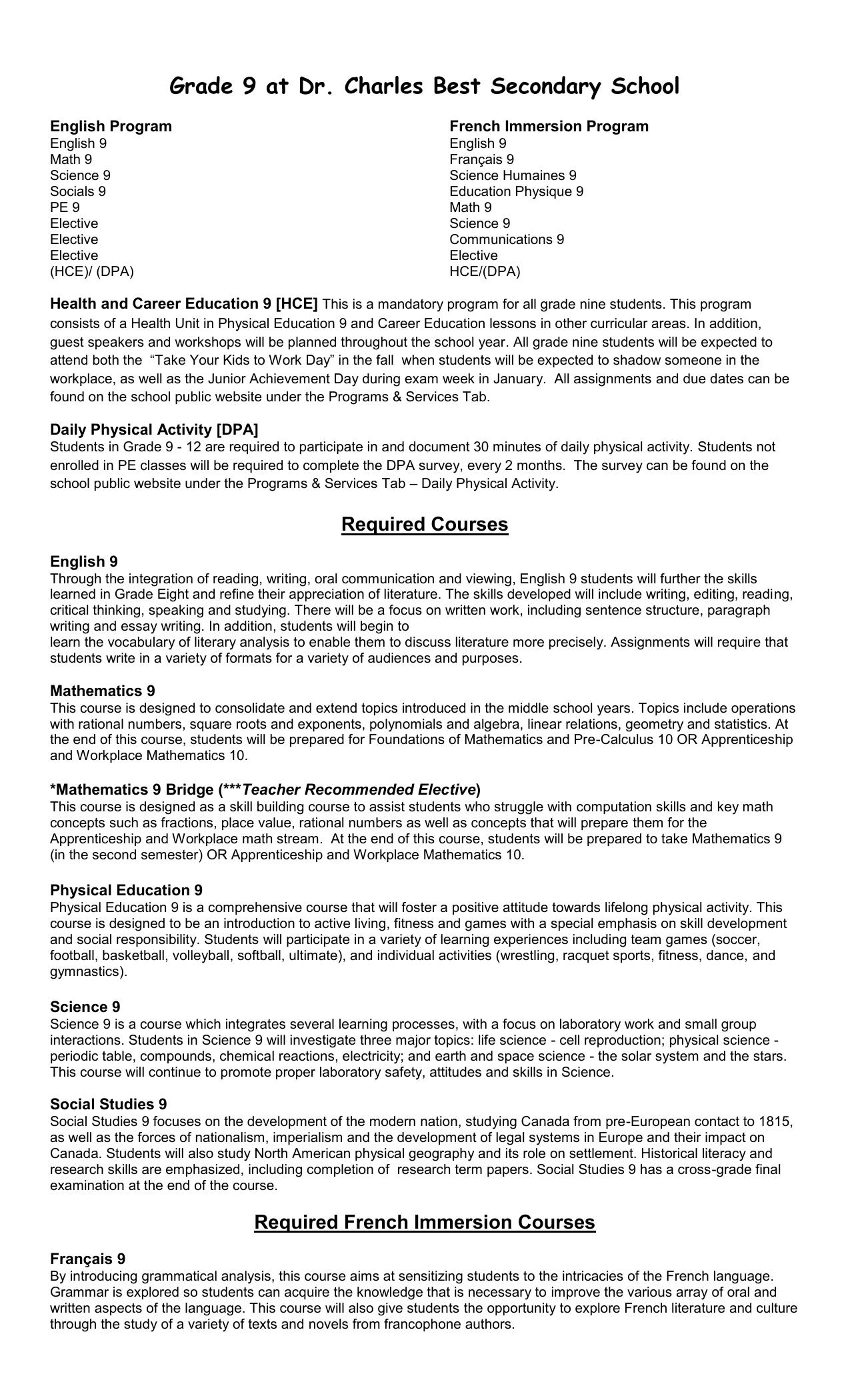 Grade 9 Course Descriptors Revised
