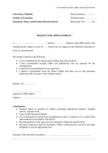 Request for Absolutorium Form