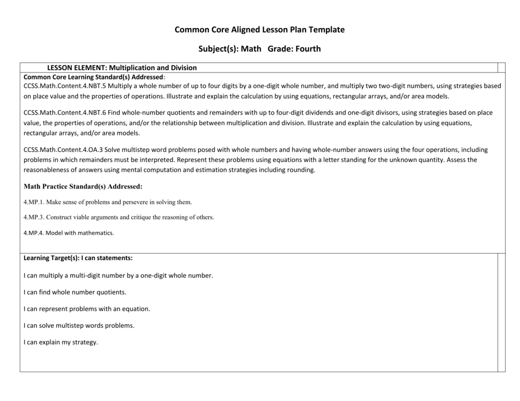 Common Core Aligned Lesson Plan Template - Common core math lesson plan template