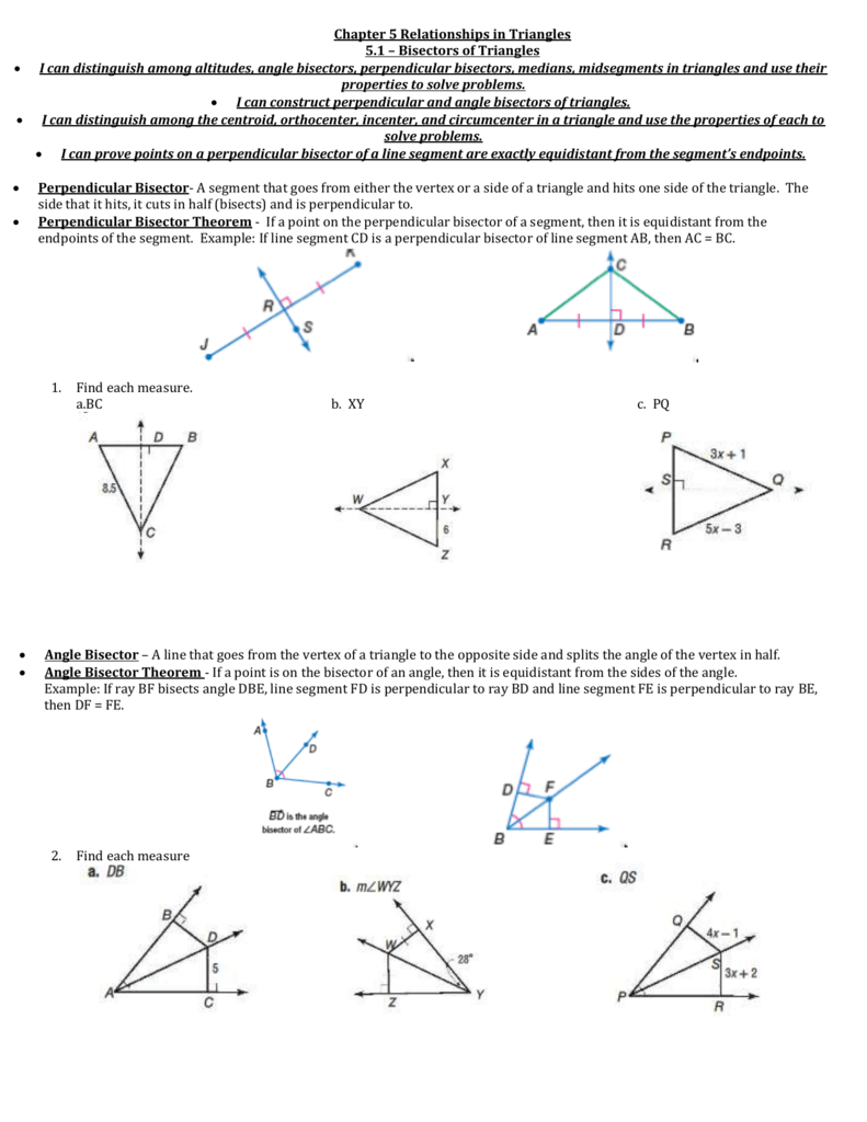 worksheet Special Segments In Triangles Worksheet chapter 5 relationships in triangles