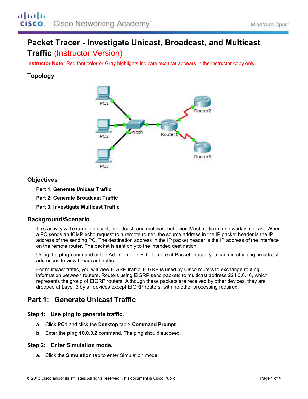 8138 Packet Tracer Investigate Unicast Broadcast And Cisco Router Diagram