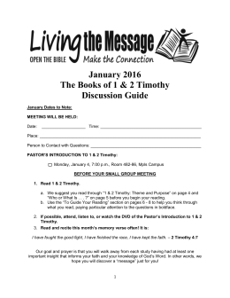 1 & 2 Timothy January 2016 - Mount Olivet Lutheran Church