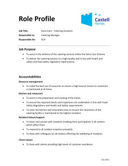 Extra Care - Catering Assistant Role Profile
