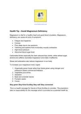Health Tip avoid magnesium deficiency