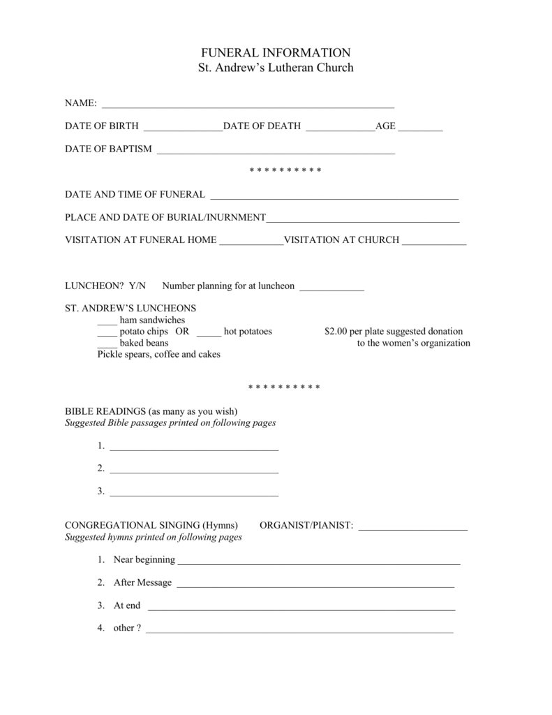 funeral planning packet - Saint Andrew`s Lutheran Church