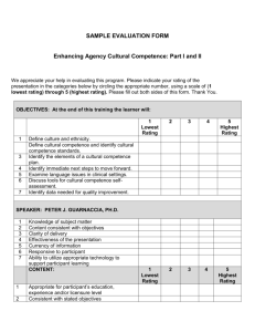 Sample Evaluation Form: Enhancing Agency Cultural Competence