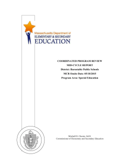 Barnstable Public Schools Mid-cycle Report 2015