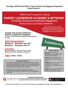 please join us for a series of parent leadership trainings