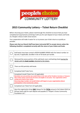 2015 Community Lottery – Ticket Return Checklist