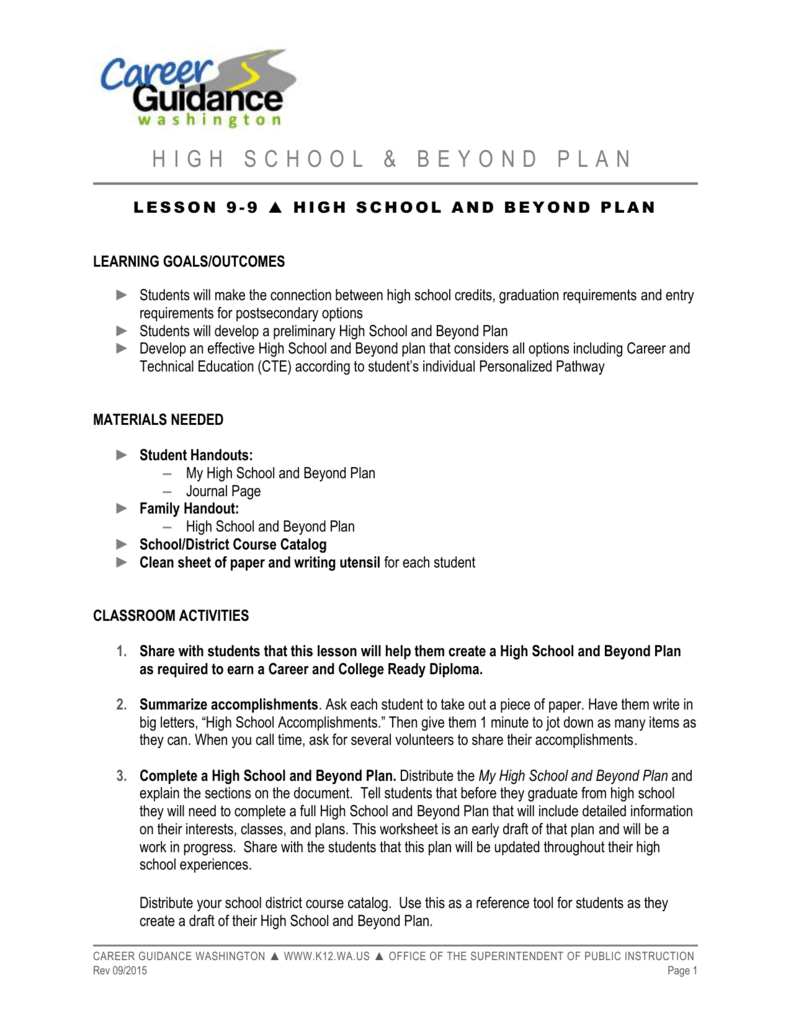 High School and Beyond Plan - Office of Superintendent of Public