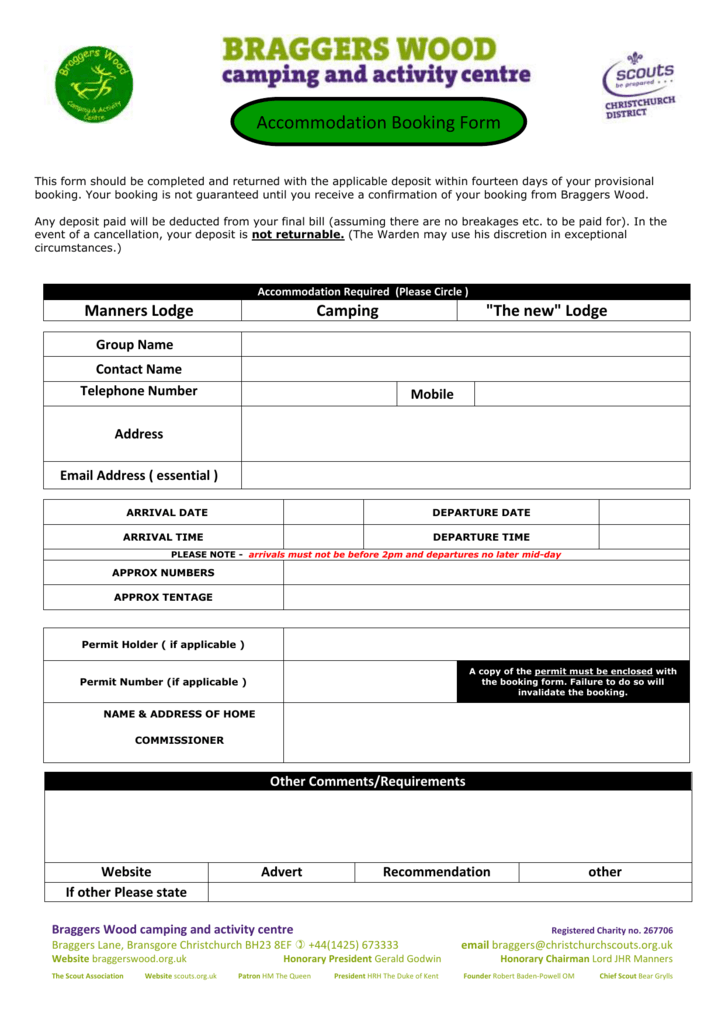 Accommodation Booking form in Word
