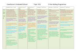 Topic KS1 2 year programme - Cawthorne`s Endowed Abbeystead